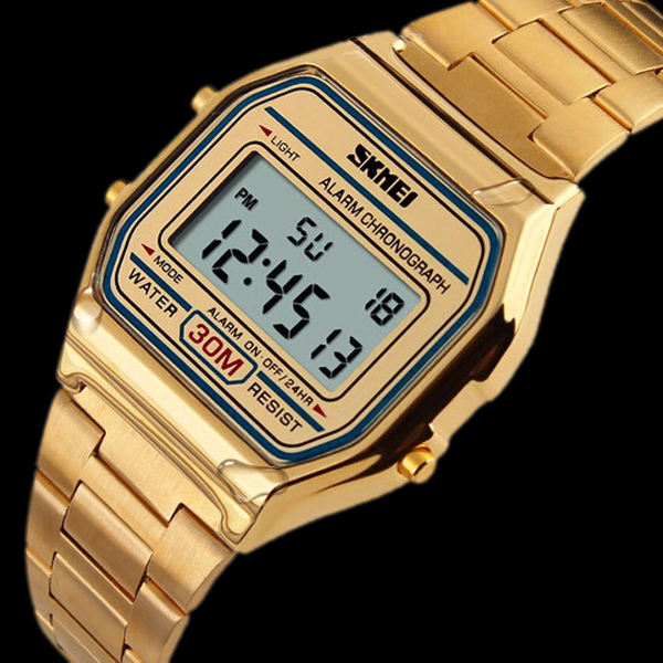 9206f7467603 SKMEI Retro Style LCD Digital Unisex Watch - Featured  BG1045019-Gold